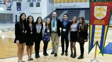 Krista, Joy, Cindy, Alana, Nikki and Gabriella pose with Dr. Staudt and Mr. Ardito