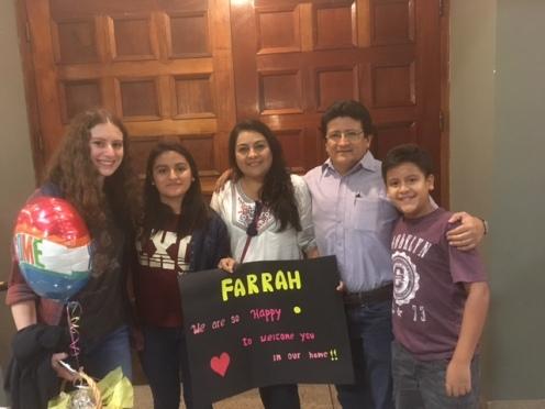 Farrah and her host family!