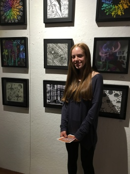 Lainey Fordin with her relief print