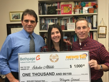Coach Paino, Allie and Chris Croken from Bethpage Federal Credit Union