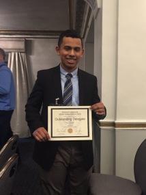 Kevin Contreras, Outstanding Delegate